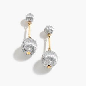 JCrew Silver Thread Ball Drop Earrings